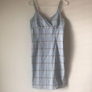 Light blue, khaki & white plaid dress